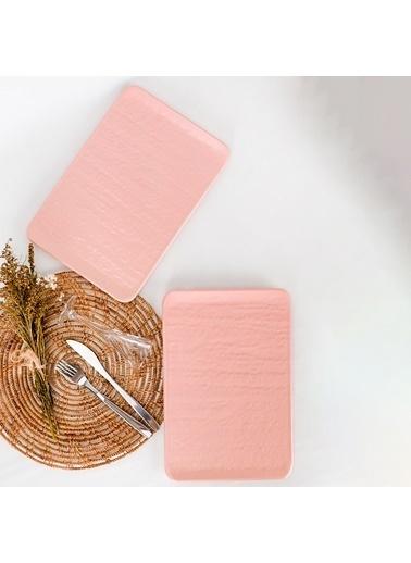 Keramika Keramika Mat Açık Pembe Doğaltaş Kayık Tabak 30 Cm 2 Adet Renkli
